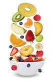 Os ingredientes para a salada de fruto com frutos gostam de maçãs, laranjas, vagabundos Fotografia de Stock