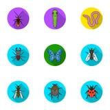 Os insetos ajustaram ícones no estilo liso Coleção grande da ilustração do estoque do símbolo do vetor de insetos Imagens de Stock Royalty Free
