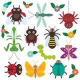 Os insetos engraçados ajustaram a lagarta da borboleta da aranha Fotografia de Stock