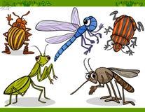 Os insetos felizes ajustaram a ilustração dos desenhos animados Foto de Stock Royalty Free