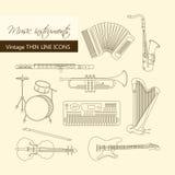Os instrumentos de música diluem a linha ícone ajustado para a Web e o móbil Fotos de Stock