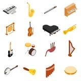 Os instrumentos musicais ajustaram ícones, estilo 3d isométrico Imagens de Stock