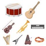 Os instrumentos musicais ajustaram ícones no estilo dos desenhos animados Imagem de Stock