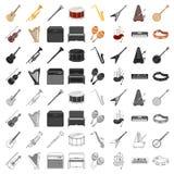 Os instrumentos musicais ajustaram ícones no estilo dos desenhos animados A coleção grande de instrumentos musicais vector a ilus Foto de Stock
