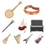 Os instrumentos musicais ajustaram ícones no estilo dos desenhos animados A coleção grande de instrumentos musicais vector a ilus Imagem de Stock Royalty Free