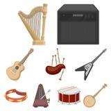Os instrumentos musicais ajustaram ícones no estilo dos desenhos animados A coleção grande de instrumentos musicais vector a ilus Fotografia de Stock