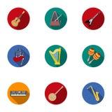 Os instrumentos musicais ajustaram ícones no estilo liso Coleção grande do símbolo dos instrumentos musicais Imagens de Stock Royalty Free