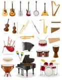 Os instrumentos musicais ajustaram a ilustração conservada em estoque do vetor dos ícones Foto de Stock Royalty Free