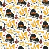 Os instrumentos musicais do jazz utilizam ferramentas a rocha sem emenda da ilustração do vetor do som do teste padrão da música  ilustração do vetor