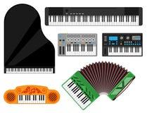 Os instrumentos musicais do teclado vector o som eletrônico do equipamento brilhante acústico clássico do músico do estúdio da me Fotos de Stock Royalty Free