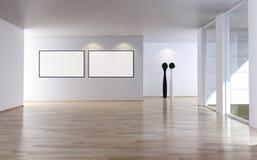 Os interiores brilhantes modernos esvaziam a sala com quadro 3D r do cartaz do modelo ilustração do vetor