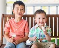 Os irm?os chineses e caucasianos da ra?a misturada nova comem o gelado fotos de stock