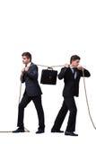 Os irmãos gêmeos no conceito do conflito isolados no branco Imagem de Stock