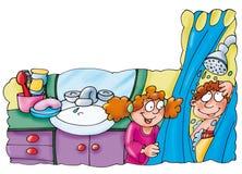 Os irmãos sob o chuveiro do siu lavam nas fábulas da casa do banho ilustradas para livros Foto de Stock Royalty Free
