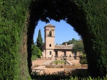 Os jardins de Alhambra Fotos de Stock Royalty Free