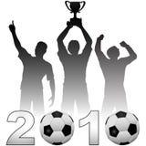 Os jogadores de futebol comemoram um futebol de 2010 estações Imagem de Stock Royalty Free