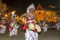 Os jogadores de Thammattam executam no Esala Perahera em Kandy, Sri Lanka Foto de Stock Royalty Free