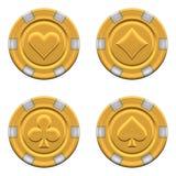 Os jogos de 3d renderam microplaquetas do casino do ouro Fotos de Stock