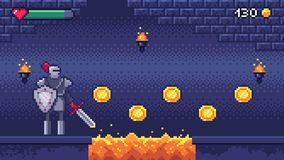 Os jogos de computador retros nivelam O caráter mordido do guerreiro da cena 8 do jogo de vídeo da arte do pixel recolhe moedas ilustração stock