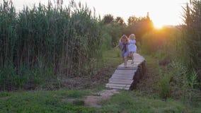 Os jogos exteriores das crianças, amigas pequenas ativas felizes correm e têm o divertimento na ponte de madeira entre a grama al filme