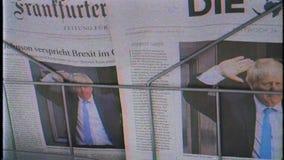 Os jornais do filme da fita do vintage de VHS eram Boris Johnson na tampa video estoque