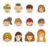 Os jovens dos desenhos animados enfrentam o ícone Fotos de Stock Royalty Free