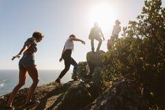 Os jovens na montanha caminham em um dia de verão foto de stock