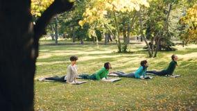 Os jovens que ativos as fêmeas estão fazendo a sequência praticando da ioga dos asanas fora no parque, mulheres no grupo estão ve video estoque