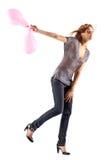 Os jovens slim a mulher com balões fotografia de stock royalty free