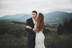 Os jovens wed recentemente pares, beijo dos noivos, abraçando na vista perfeita das montanhas, céu azul fotos de stock