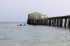 Os Kayakers apreciam a água perto de Romeo Pier, Princeton CA fotos de stock