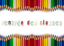Os lápis colorem de volta ao shool (em francês) Fotos de Stock