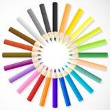 Os lápis da cor arranjam no círculo ilustração stock