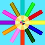 Os lápis de cores diferentes são arranjados em um círculo ilustração do vetor