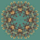 Os lírios arranjaram em um círculo com borboletas do voo Imagem de Stock