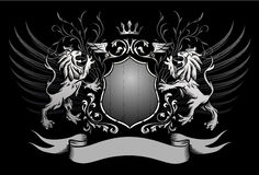 Os leões protegem e coroam insígnias voadas Imagem de Stock