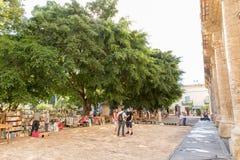 Os livreiros aproximam Plaza de la Catedral em Havana velho, Cuba foto de stock