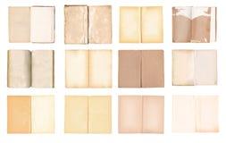 Os livros abertos velhos ajustaram-se isolado no fundo branco Foto de Stock Royalty Free