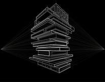 Os livros do esboço do conceito transformaram construções às pretas o fundo Fotos de Stock Royalty Free