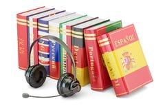 Os livros dos auriculares e da língua, aprendendo e traduzem o conceito 3d Fotografia de Stock