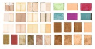 Os livros fechados e abertos velhos ajustaram-se isolado no fundo branco Imagem de Stock