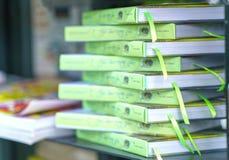 Os livros na biblioteca são arranjados nas escadas que simbolizam povos nivelados do conhecimento Fotos de Stock Royalty Free