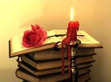 Os livros velhos, vermelho levantaram-se? Fotos de Stock