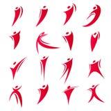 Os logotipos abstratos isolados da unidade dos povos da cor vermelha ajustaram-se na ilustração branca do vetor do fundo Fotos de Stock