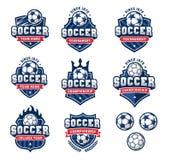 Os logotipos do futebol ou do futebol do vetor ajustaram 2 Fotografia de Stock Royalty Free