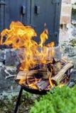 Os logs que queimam-se em um fogo Pit- chamas douradas grandes Fotografia de Stock Royalty Free