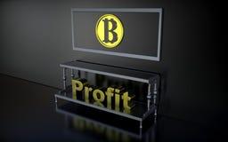 Os lucros da palavra e os bitcoins do sinal Foto de Stock