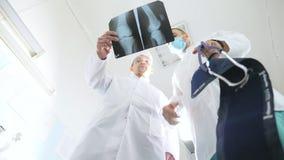 Os médicos masculinos consultam um com o otro ao olhar a imagem do raio de x Imagem caucasiano do mri da opinião de dois doutores filme