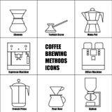 Os métodos da fabricação de cerveja do café, Vector a linha fina grupo do ícone Imagens de Stock Royalty Free