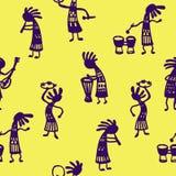 Os músicos africanos dos homens do teste padrão sem emenda com ferramentas em um esboço amarelo do fundo rabiscam a ilustração do Fotos de Stock